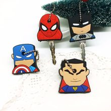 Anime Cartoon Key Cover cute Garfield Owl The avengers alliance hero Keychain Silicone Holder key Ring cat cap chain(China)