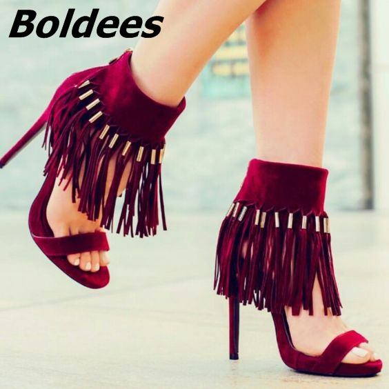 Chic Burgundy Suede Ankle Fringe Sandals Sexy Open Toe Ankle Wrap Tassel Stiletto Heel Shoes Trendy Dress Sandals New Arrival