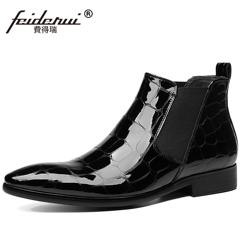 New Luxury Italian Design Pointed Toe Man Wedding Shoes Patent Leather Men's Cowboy Western Chelsea Ankle Boots JS296
