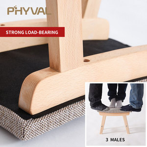 Image 4 - Drewno pufa Nordic stołek prosty otomana do salonu mebelki dziecięce podnóżek z tkaniny