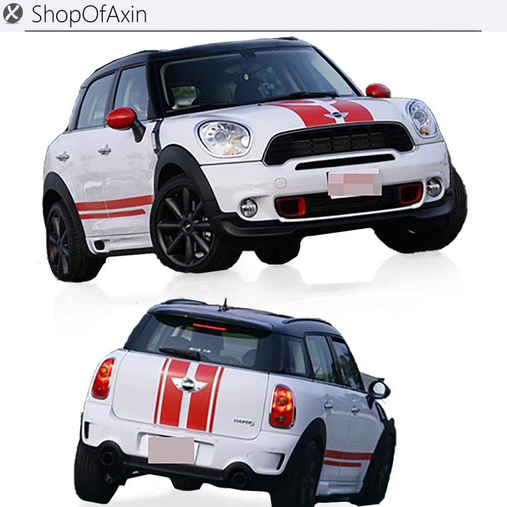 Car Hood Luggage Trunk Rokcer panel Decoration Sticker For Mini Cooper Countryman R60 hood trunk car sticker and decals lines customization for bmw mini cooper s hatchback r56 2007 2014 car styling accessories