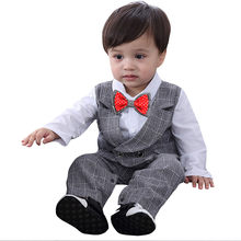 Toddler Baby Boy Bowtie Gentleman Vest T-Shirt Pants Wedding Suit Cloth Sets(China)