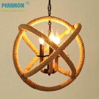 Nordic Retro Iron Round Pendant Lamp Creative Hemp Rope Lamp Loft Vintage Decoration Restaurant Lamp D350