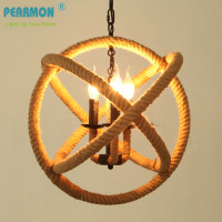 Nordic Retro Iron Round Pendant Lamp Creative Hemp Rope Lamp Loft Vintage Decoration Restaurant Lamp D350