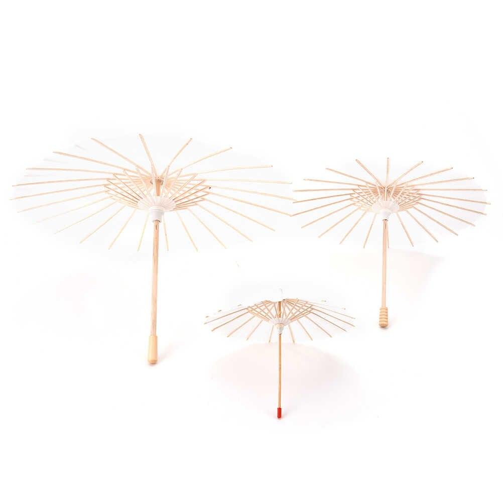 1 pc 3 Ukuran Cina Tradisional Putih Kosong Kertas Cina Payung Parasol Anak Lukisan DIY Kerajinan Hadiah Pernikahan Dekorasi Natal