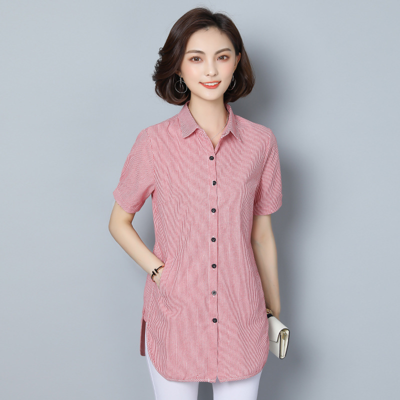 women's blouse shirt fashion woman blouses 2019 short sleeve striped womens clothing tops and blouses ladies tops Plus size 5xl 9
