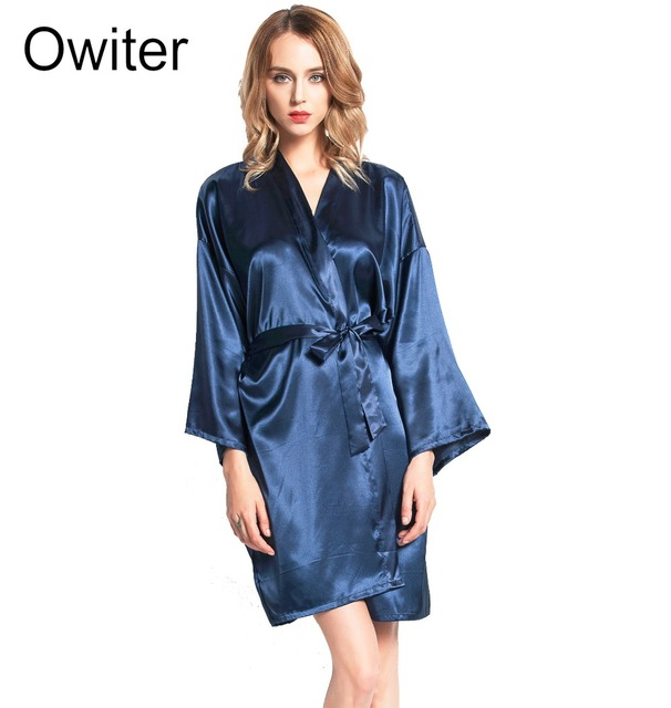 Aliexpress.com : Buy SR004 Silk Robe Bathrobe Women Short Satin Robe ...