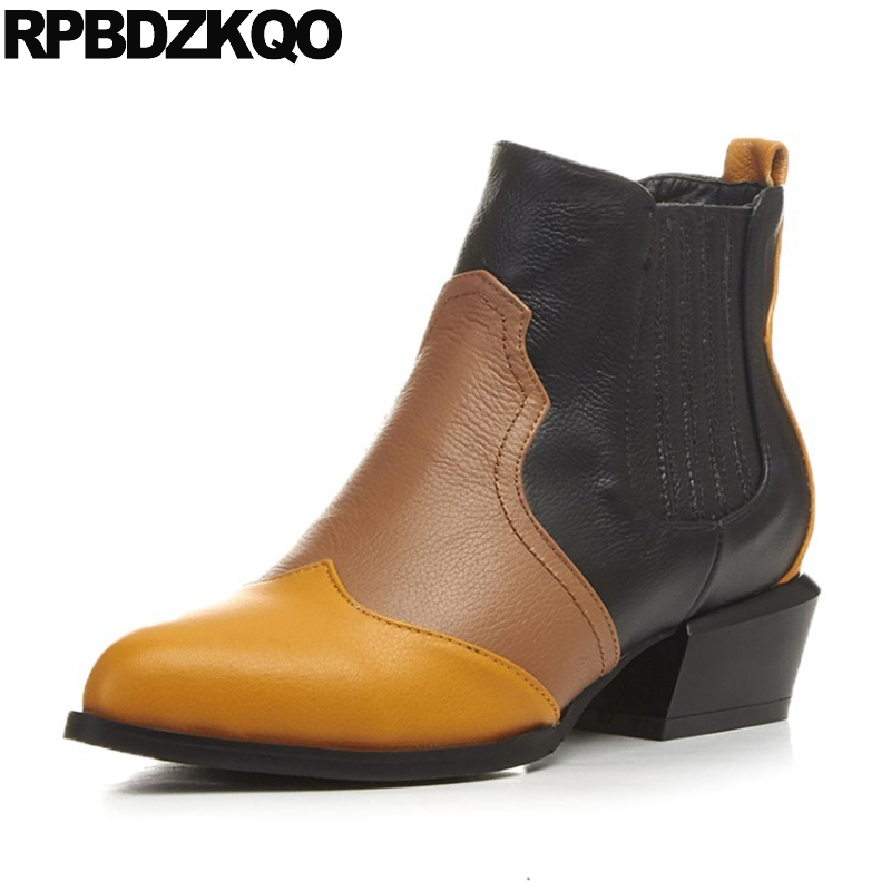 Shoes Pointy Ankle Designer Yellow Elastic Genuine Leather Short Booties Slip On Chunky Patchwork High Heel Women Boots Medium women ankle boots medium heel genuine leather booties vintage thick suede round toe chunky shoes slip on platform brown fall