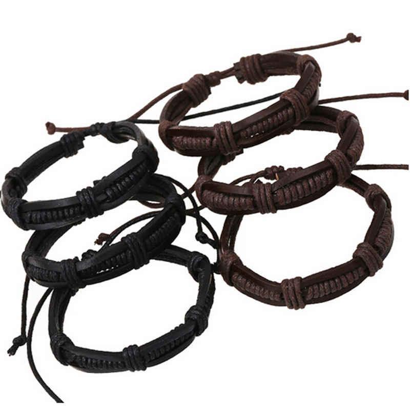 1 قطعة رواج الرجال سحر الإسورة اليدوية خمر فاسق سوار من الجلد الطبيعي المضفر أساور موهير