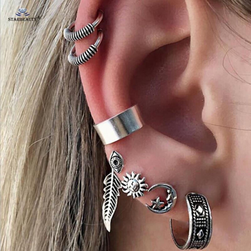 Starbeauty 7 pcs/lot Retro Leaf Eye Star Clip Ear Piercing Helix Piercing Cartilage Fake Nose Ring Tragus Pircing Body Jewelry Пирсинг ушей