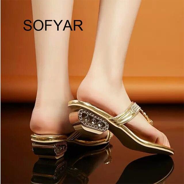 Summer autumn flip flop crystal med heels fretwork heels slipper beach shiny sandals outdoor slides Hollow out wedges slipper