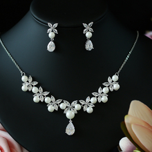ASNORA Pearl Costume Women Jewelry Sets White CZ Earrings/Pendant Necklace Luxury Bridal Wedding Jewelry