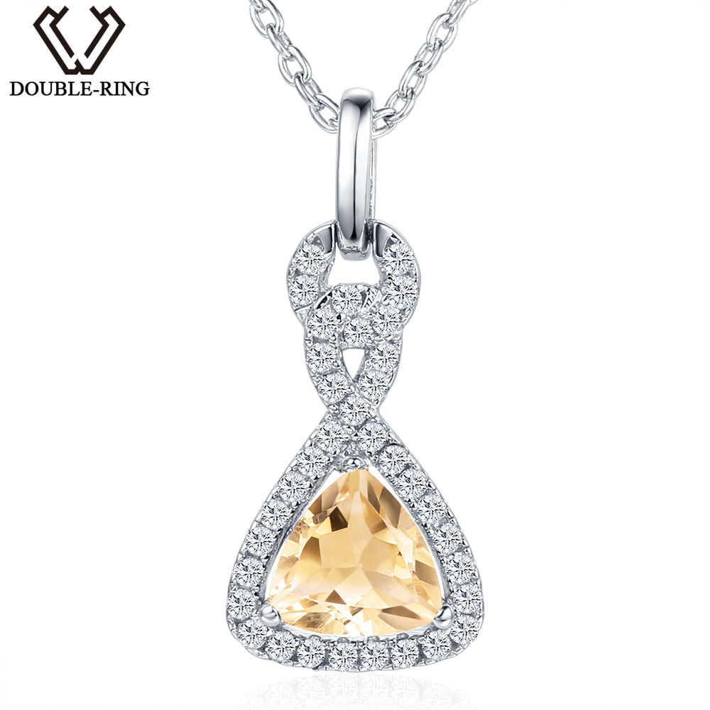 DOUBLE R 1.0 ct Natural Citrine Gemstone Pendants female 925 Silver Necklace Fine Brand Jewelry for Women
