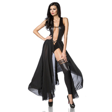Wonder-beauty Wonder beauty Erotic Black Leather Sleeveless Bodysuit Low Cut Sexy