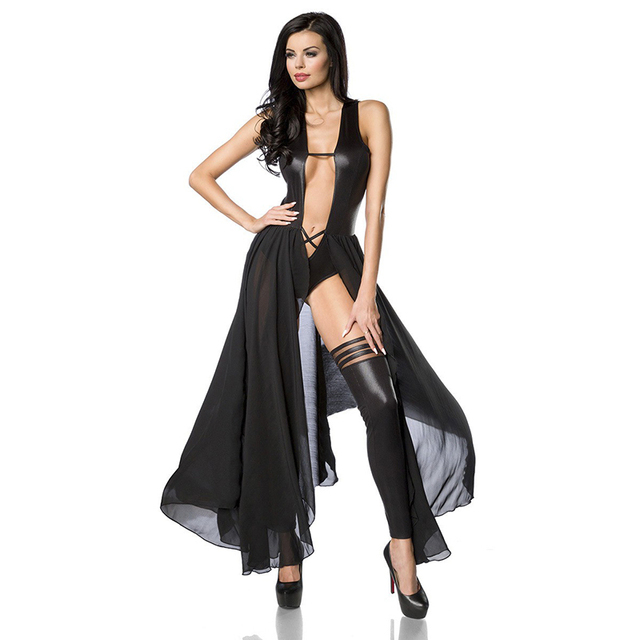 Wonder beauty Erotic Black Leather Sleeveless Bodysuit Low Cut Backless Macacao Feminino with Sheer Mesh Sexy Vinyl Jumpsuit