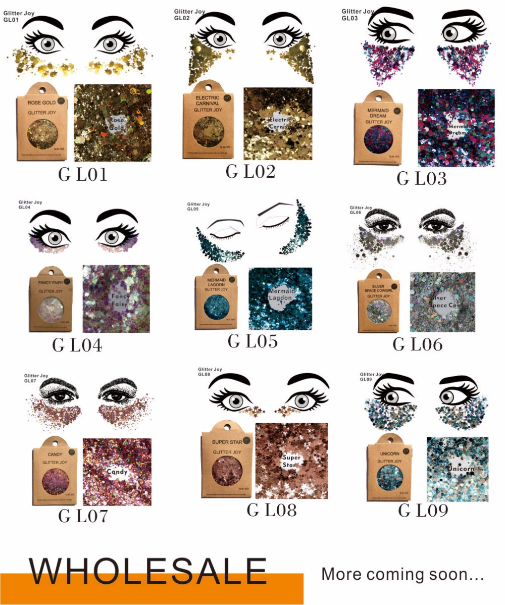 WHOLESALE 100 packs Face and Body Glitter Festival can also be Shine on Night Club and