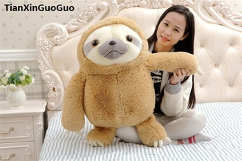 fillings toy large 65cm lovely cartoon sloth plush toy light brown cute sloth soft doll throw pillow birthday gift s0572