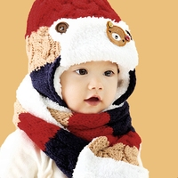Children Baby Winter Hat Adorable Bear Printed Patchwork Crochet Pom Pom Beanie With Scarf Christmas Gift