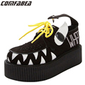 Size 34 & 39 Womens Ladies Fashion Punk Goth Rock Lace Up High Platform Flat Creepers Monster Shoes Women Harajuku Shoes