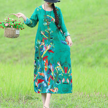 Spring Summer National wind Ladies Dress 2019 New Casual Vintage Cotton Linen Large size Printed Women Dress KO09(China)