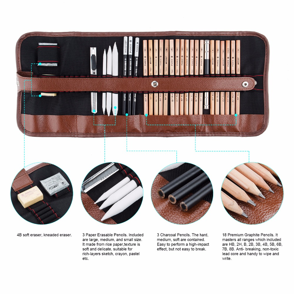 Marco 29 PCS Professional Sketch & Drawing Art Tool Kit With ...
