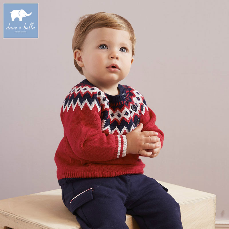 DB5608 dave bella autumn infant baby boys cotton pullover sweater lovely clothes toddler children knitted Sweater db2315 dave bella autumn winter baby boy turtleneck sweater infant clothes toddle cotton wool sweater boys plum sweaters