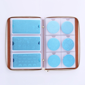 Image 2 - NICOLE DIARY estuche para placa de estampado, 72 ranuras, láser, plateado, rosa, rectangular, redondo, organizador de placa de Arte de uñas, bolsa de soporte