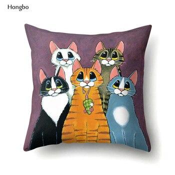 Hongbo Cartoon Cat Print Cushion Cover Throw Pillow Case Home Decor Sofa Car Seat Cushions cartoon comestics print cushion cover