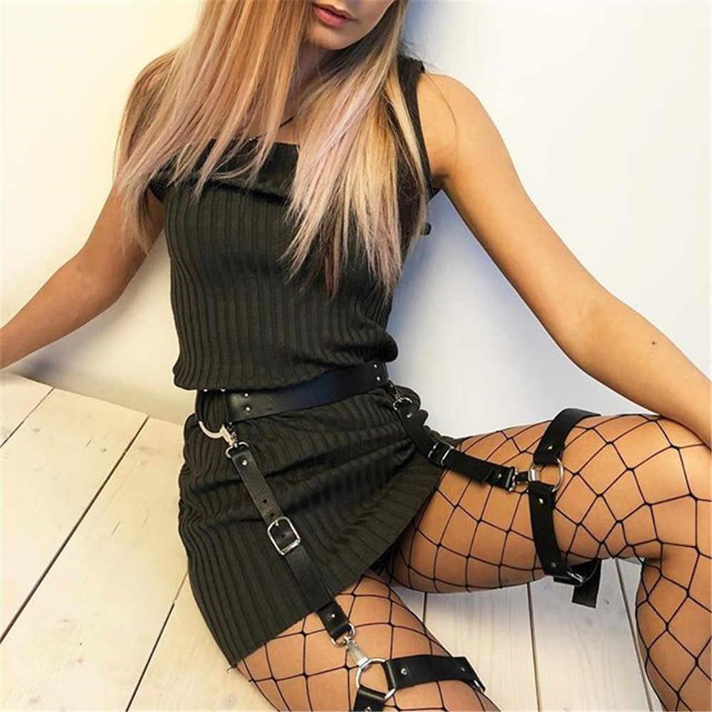 Nữ Pastel Jartiyer Sexy Da Bondage Khai Thác Vành Đai Dây Đeo Goth Punk Đồ Lót Chân Garter Belt Treo Thời Trang Phụ Nữ Thắt Lưng