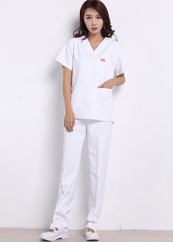 White Medical Hospital Clothes Sets Professional Scrub Sets Surgical Gowns Doctors Nurses Uniforms Dental Clinic Lab Overalls