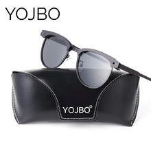 YOJBO Sunglasses Men Polarized Cat Eye 2017 Fashion Retro Mirror Women Vintage Luxury Brand Designer Clear Black Sun Glasses