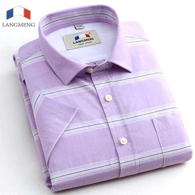 Langmeng 2016 Marca Hombres de Rayas Camisas de vestir de Negocios de Manga corta Camisas Sport de Lujo de Alta Calidad para hombre 100% camisas de algodón