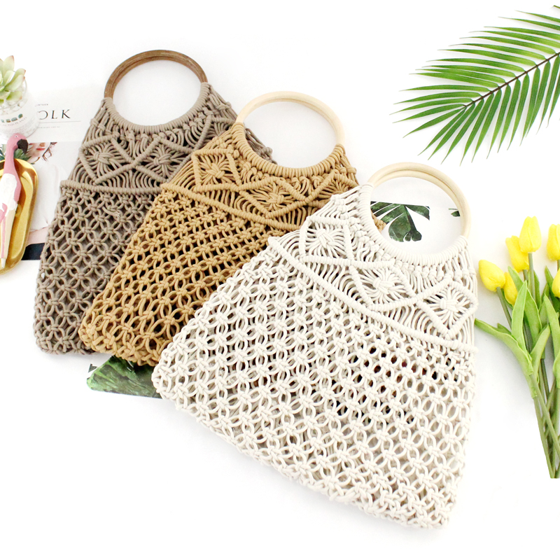 New Type Of Cotton Rope Hollow Net Pocket Handbag Straw Knitting Bag Small Fresh Knitting Lady Bag Beach Bag Without Lining