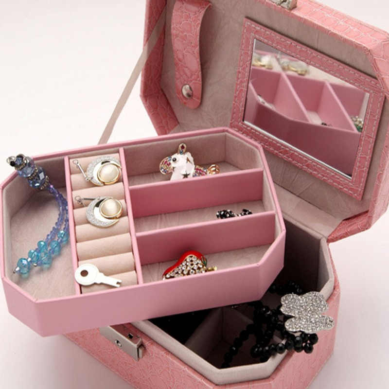 Jewelry Box Organizer PU Leather Double Layers with Mirror jewelry Dispplay Holder Drop Shipping boite a bijoux цена 2017
