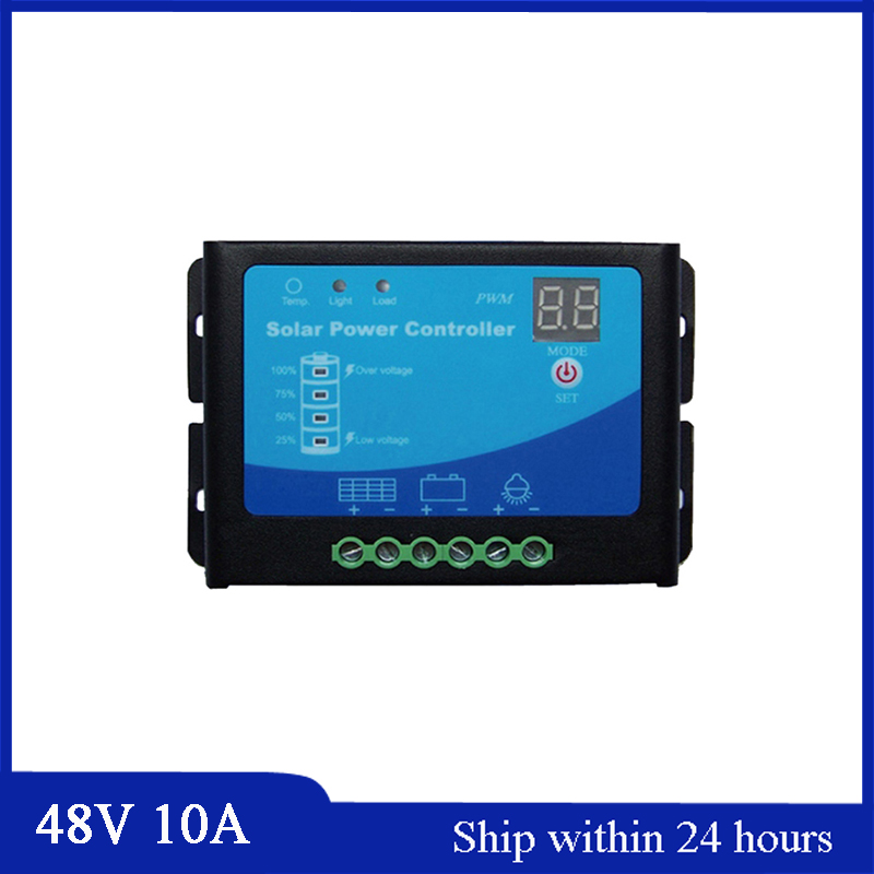 Hot Sell 48V 10A Solar Charge Controller for Home PV System/use for Garden Light/PMW Mode Solar Power E-bike Charging controller 48v 30a intelligent 48v solar charge controller for solar power system solar power controller