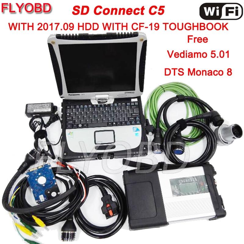 2018-09 v Wifi מלא שבב MB כוכב C5 עם תוכנת SSD ב CF19 מחשב נייד i5 מעבד עבור MB SD להתחבר C5 רכב אבחון כלי מוכן לשימוש