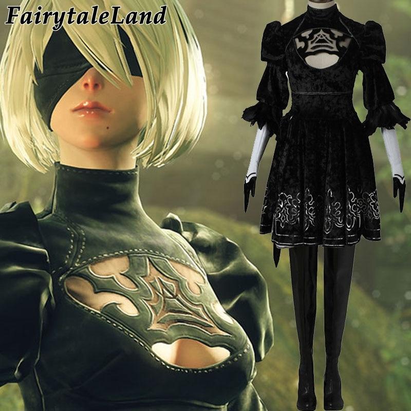 NieR:Automata No.2 Type B YoRHa cosplay costume Custom made hot game cosplay 2B dress mask women sexy costume Halloween