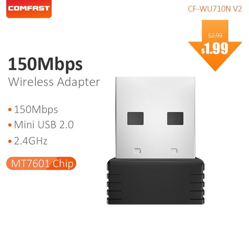 COMFAST Mini Network Card 2.4G USB2.0 WiFi Adapter 150Mbps External Wireless LAN Ethernet Wi-Fi Support Windows CF-WU710N