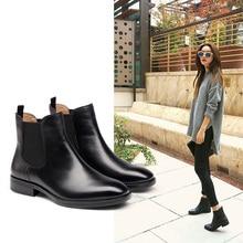2016 New Women Chelsea boots Winter Warm Martin Boos Full Grain Leather Women's Shoes Short Boots Woman Square Heel Black Botas