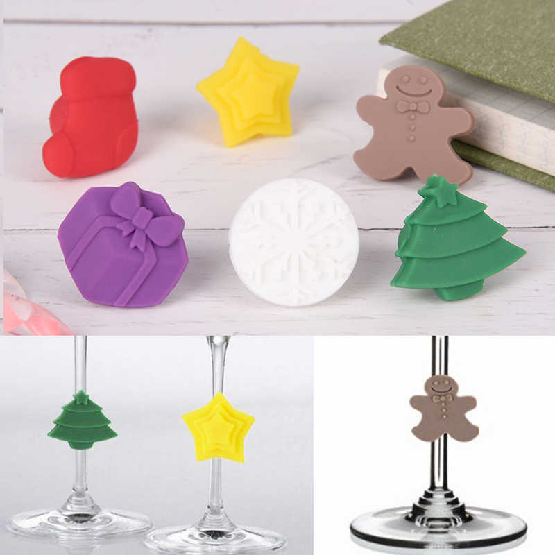 6pcs Christmas Tree Gingerbread Man Star Snowflake Shape Silicone Cup Cat Wine Glass Label Marker Sticker Party Diy Decoration