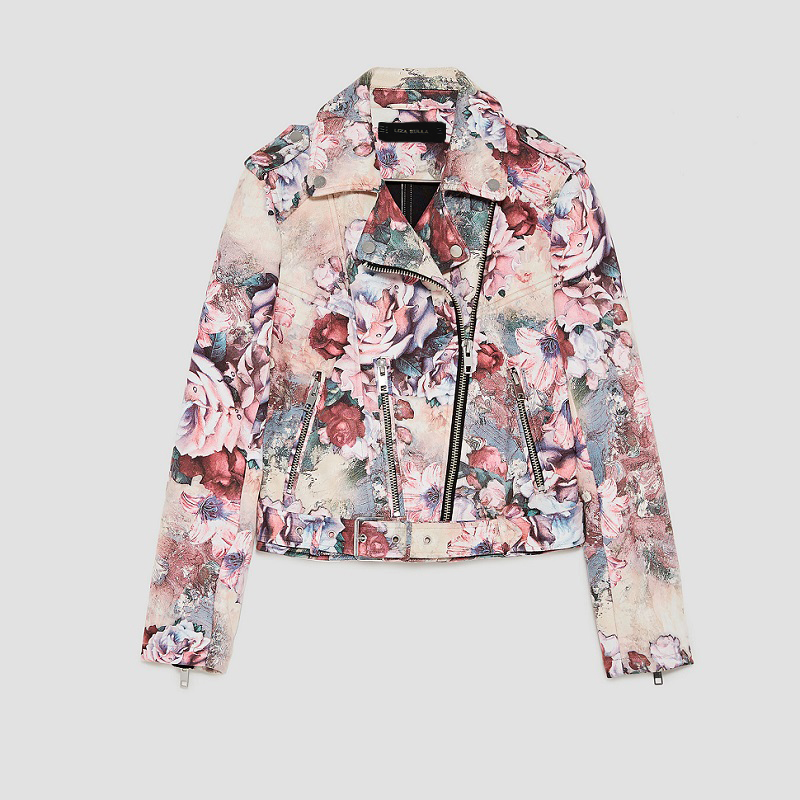 S xl Pu blue New 2018 Basic Fashion brown pink Suede Leather Bright gray Ladies Jacket Spring Women Colors Beige flowers Short Street 5dUU6n