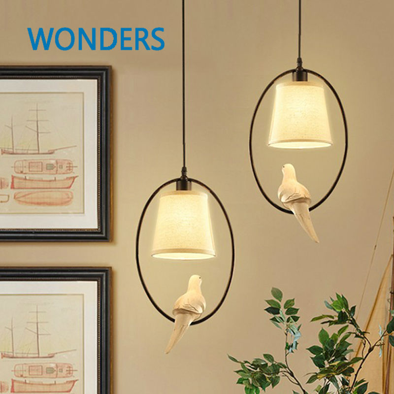 Modern white cloth lampshade bird Pendant Lights creative Art novelty Indoor birdcage Hanging lighting pendant lamp fixtureModern white cloth lampshade bird Pendant Lights creative Art novelty Indoor birdcage Hanging lighting pendant lamp fixture