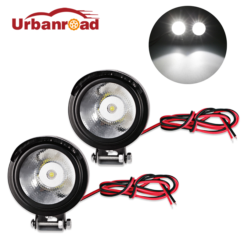 Urbanroad 2Pcs Metal 12v Led Driving Lights Motorcycle Motorbike Led Front Spot Light Headlight font b
