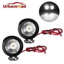 Urbanroad 2 шт. металл 12 В светодио дный светодиодные фары мотоцикл светодио дный светодиодный передний точечный свет фара Лампа 12 В -В 80 в черный