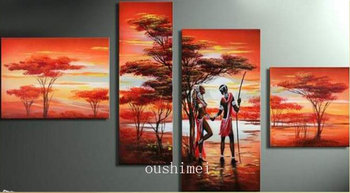 Handmade 4pcs/lot Modern Abstract Pictures On Canvas Landscape Oil Painting For Living Room Decor Wall Art Lover Paintings