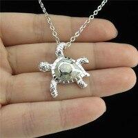 GLOWCAT Q21A21 Silver Tone Alloy Women Animal Tortoise Australian Opal Pendant Collar Choker Turtle Necklace 18