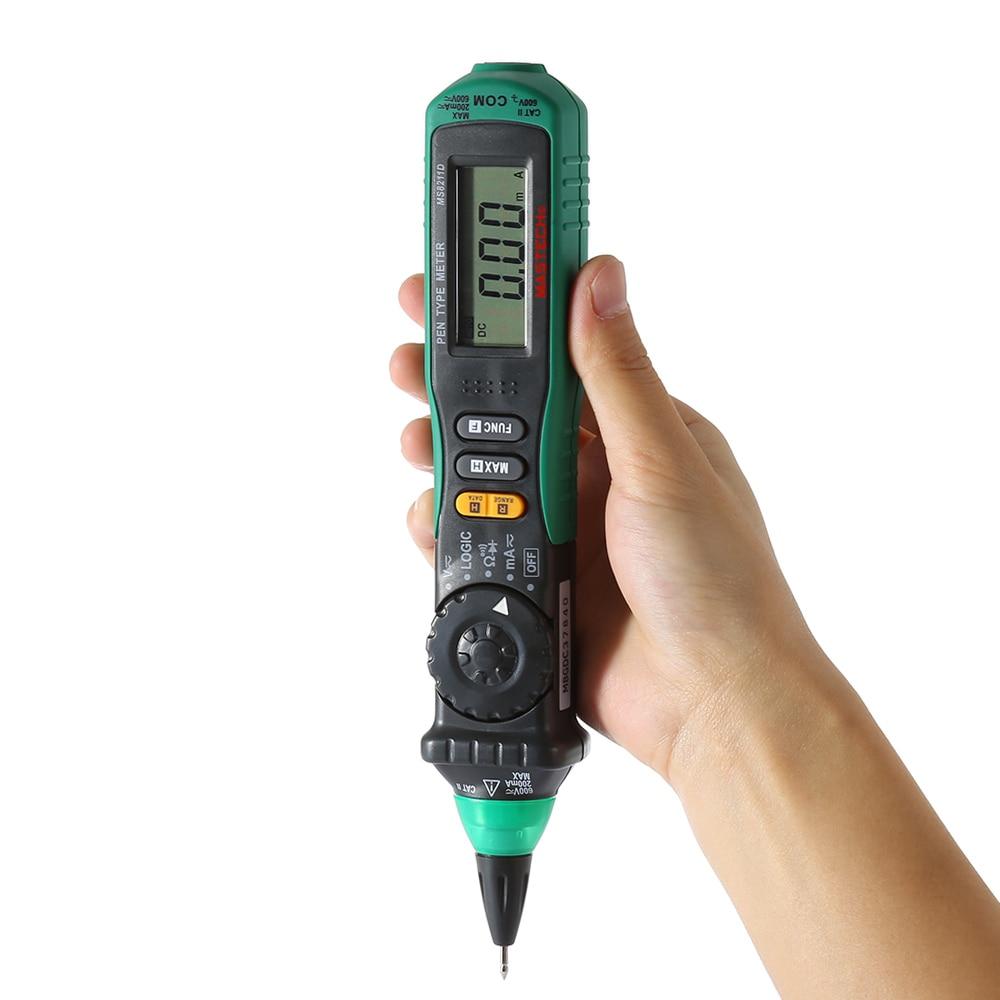 MASTECH MS8211D Digital Multimeter Pen-Type AC DC Volt Amp Multitester Professional Voltage Current Tester Diagnostic-tool 1 pcs mastech ms8269 digital auto ranging multimeter dmm test capacitance frequency worldwide store