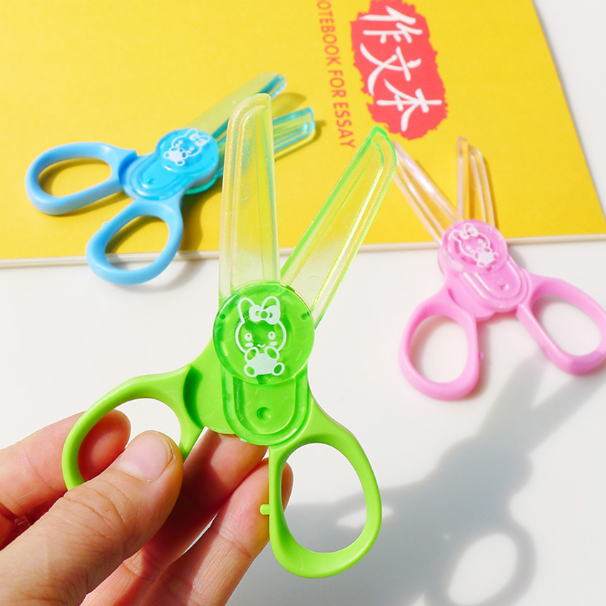 Safe Plastic Mini Scissors Kids Handmade DIY Album Paper Cutter Craft Art Protection Scissors Early Learning School Supplies
