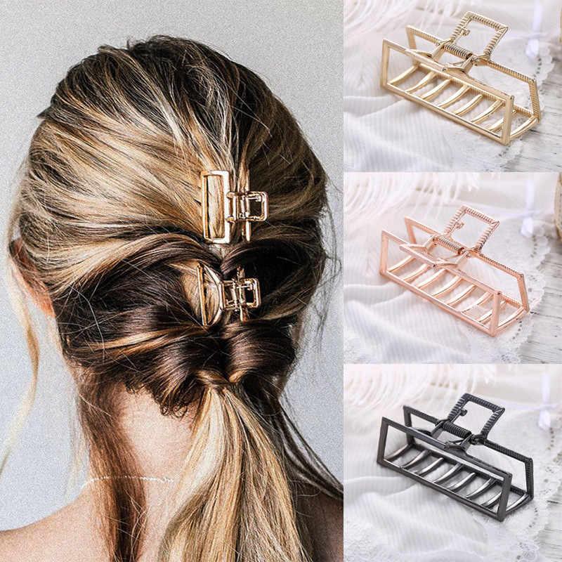 1 adet basit şık büyük boy kadın saç pençe kelepçeleri Chic geometrik saç yengeç basit kare Metal saç şekillendirici klipleri