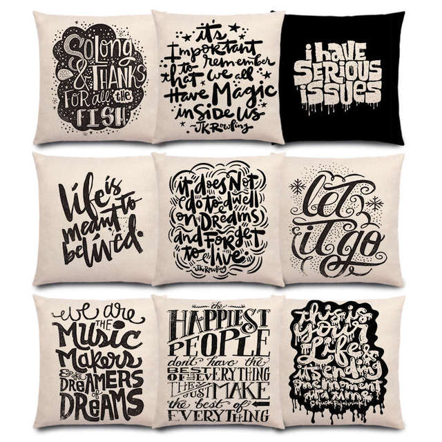 Black White Pattern Decorative Letters Fun Words Meaningful Saying Short Sentences Love Life Good Cushion Cover